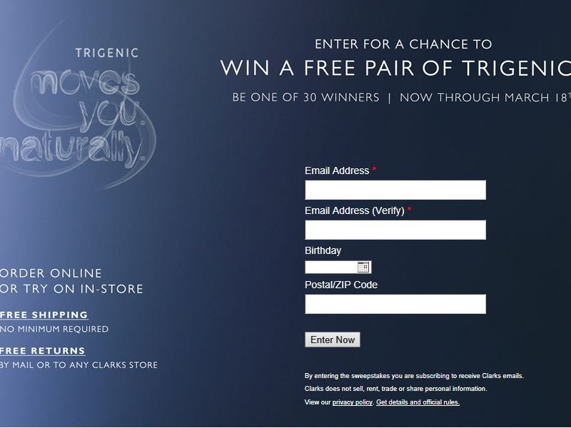 Enter the Clarks Trigenic Sweepstakes for your chance to win