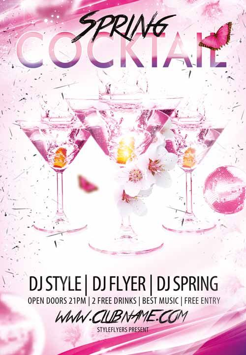 Cocktail Spring Dj Love Free Flyer Template  HttpFreepsdflyer