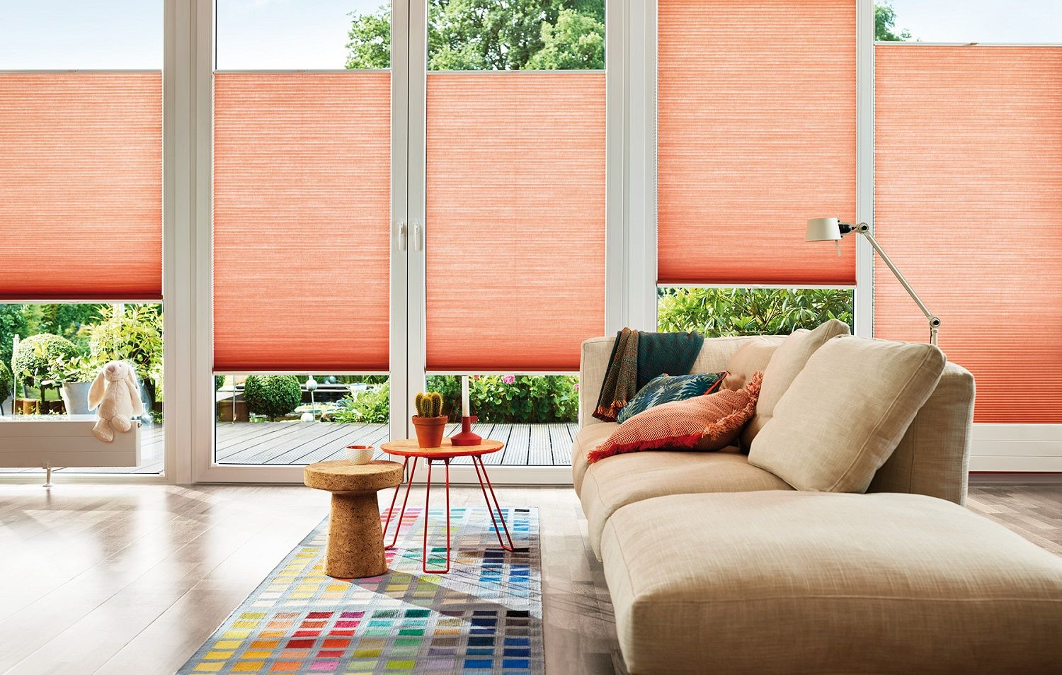 peachy expensive home decor. Duette blinds for the living room  Energy saving Contemporary peach colour inspiration