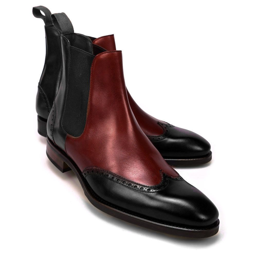 f60571b3296 Handmade Chelsea Two Tone Leather Ankle Boot Burgundy Black Men Formal Boot  #Handmade #AnkleBoots