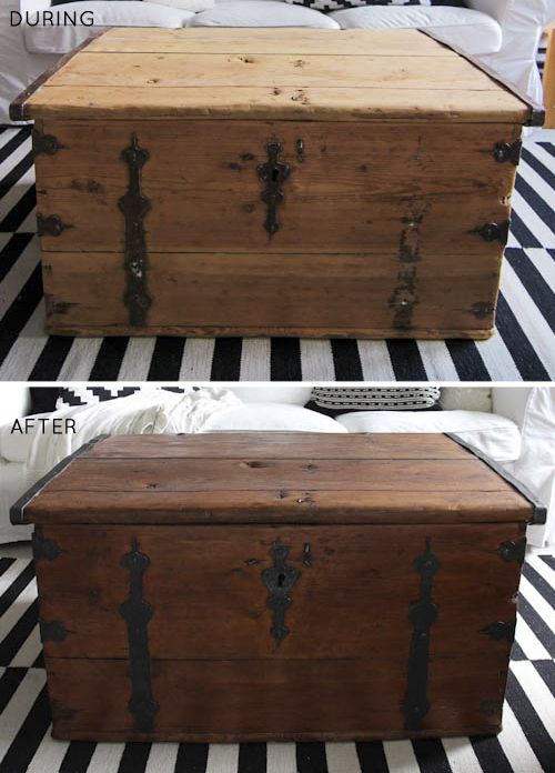 Before After Wooden Trunk Make Under Wooden Trunks Trunk Makeover Wooden Chest