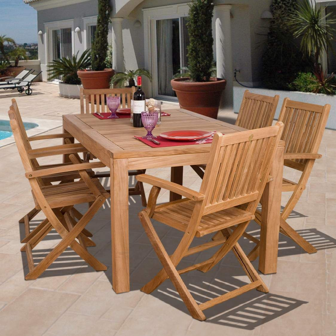 Outdoor Tables 7 Pieces Teak Loma Outdoor Dining Set Outdoor Dining Set Outdoor Tables Outdoor Table Settings