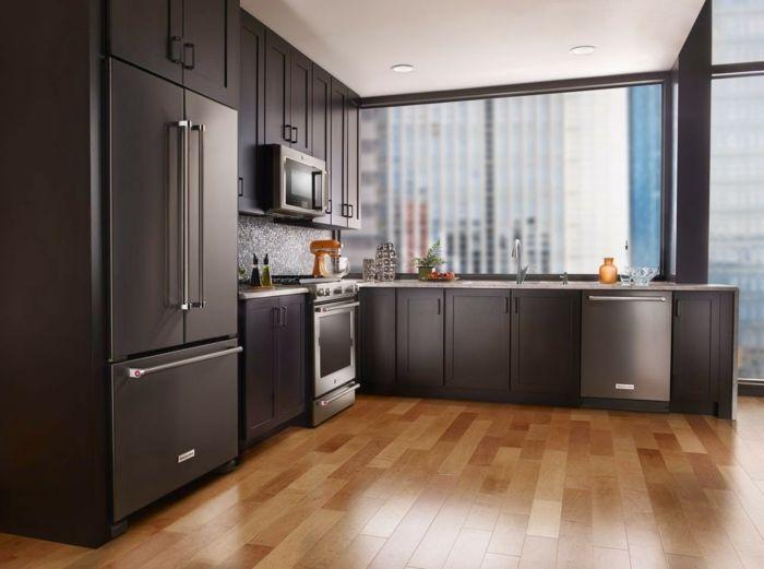Design Kühlschrank Küche Einrichten Küchenräckwand Mosaikfliesen