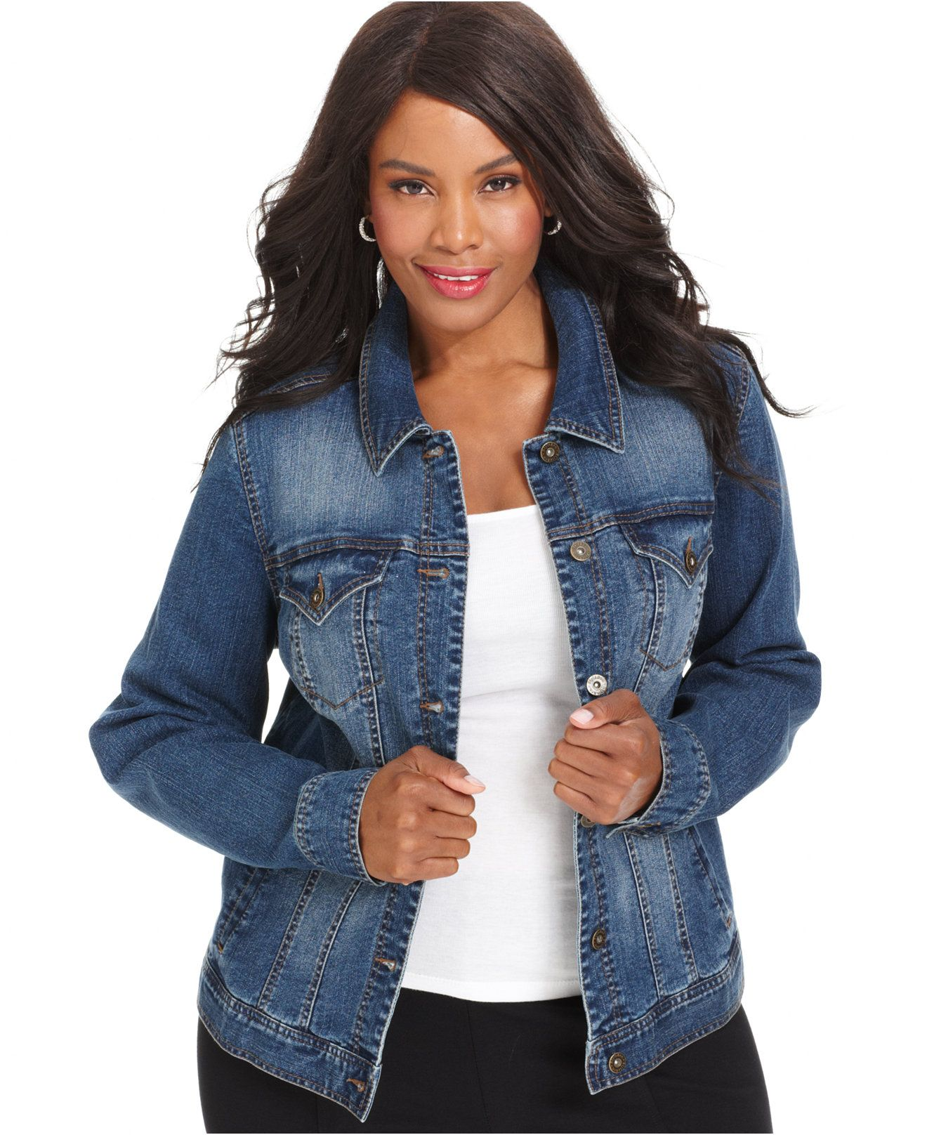 Style & Co Plus Size Denim Jacket, Only at Macy's | Shops, Mosaics ...