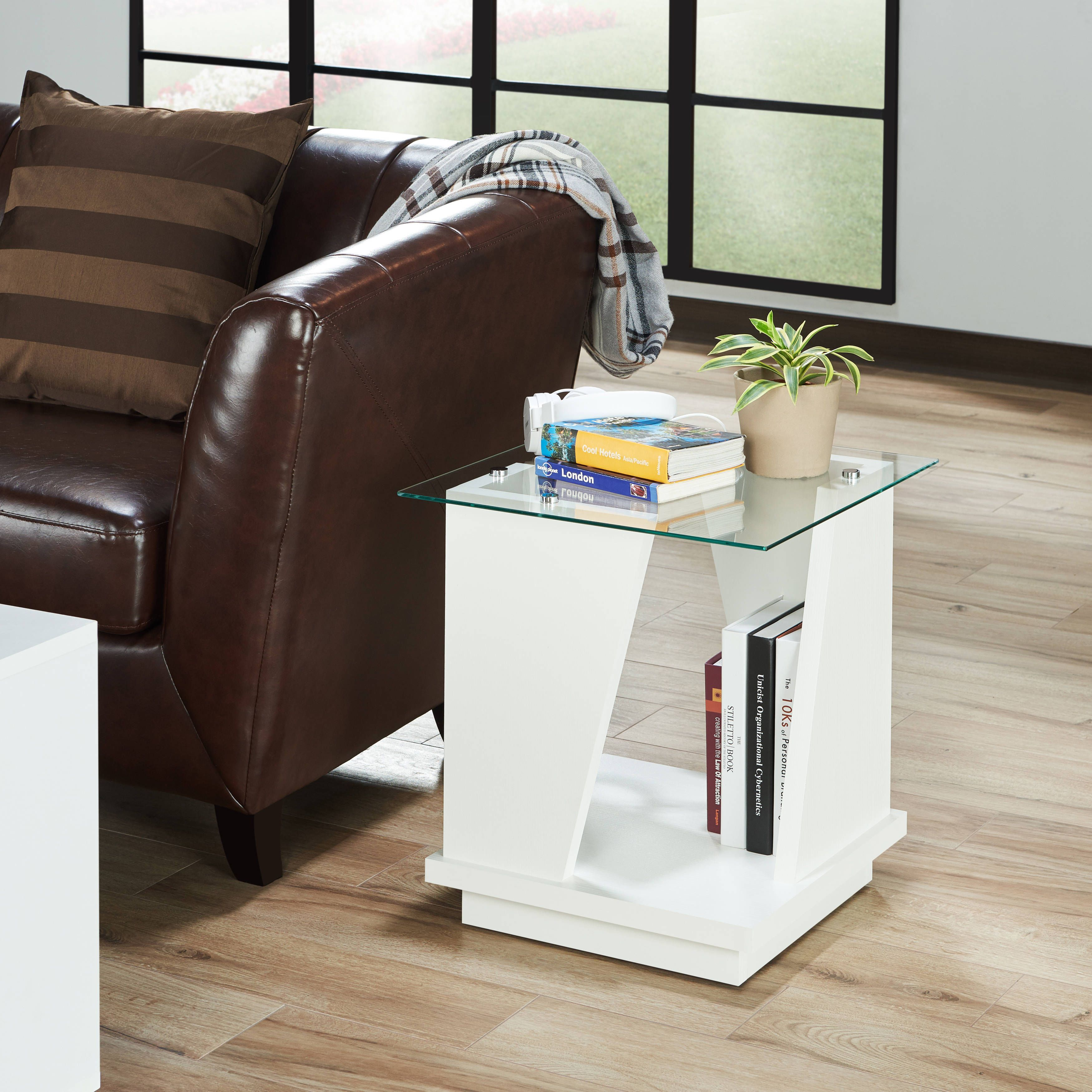 furniture of america selema glass top end table white glass