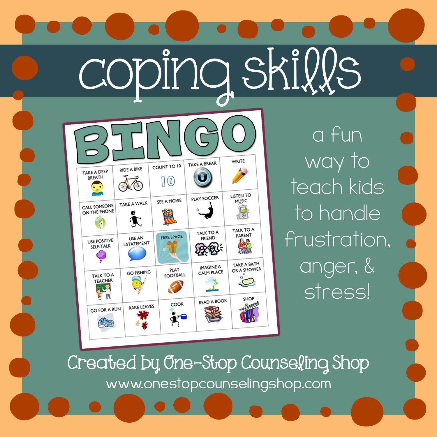 Coping Skills Bingo Game 2 Different Versions