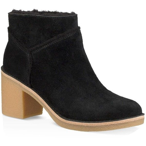 UGG Kasen Shearling Block Heel Booties ($150) ❤ liked on Polyvore featuring shoes,
