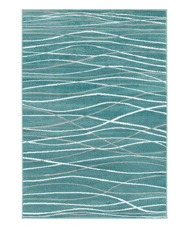 Another Great Find On Zulily Teal White Wavy Line Plush Grace Area Rug Zulilyfinds Teal Rug Area Rugs Colorful Rugs