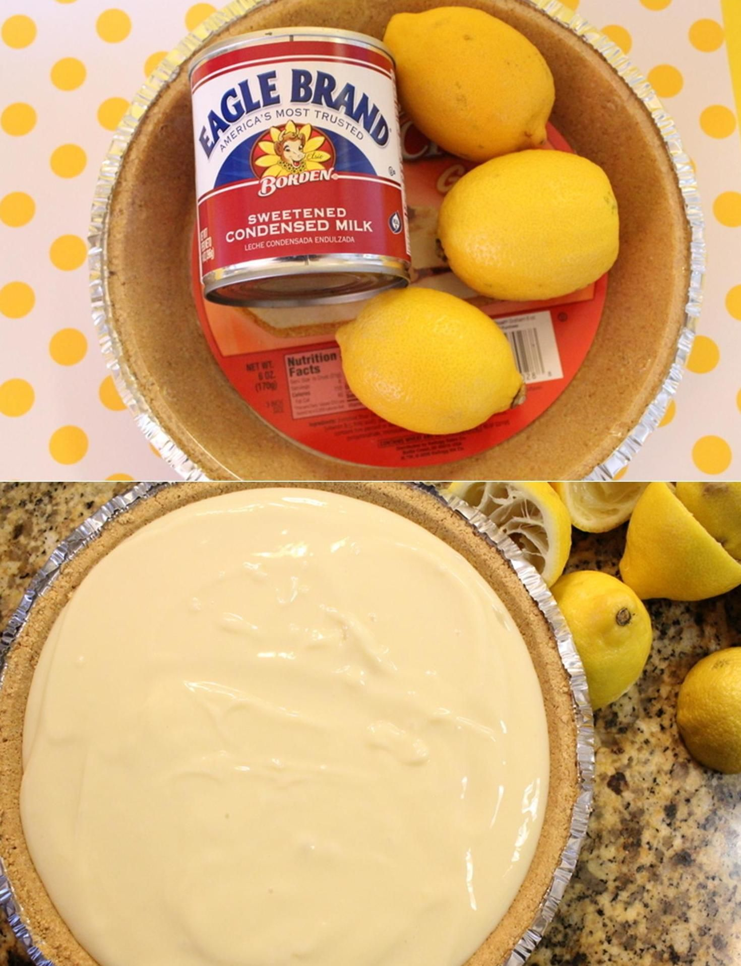 Bake Lemon Pie - 3 ingredients and it actually works :)                     Pie Crust, 2 cups sweetened condensed milk, 3/4 cup of lemon juice. Mix the Juice with the Milk then pour it into the Crust... then chill in the Fridge for a couple hours. Top with whipped cream :)