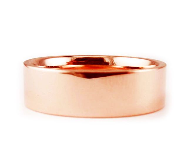 7mm 18K ROSE GOLD FLAT PLAIN SHINY COMFORT FIT WEDDING BAND RING