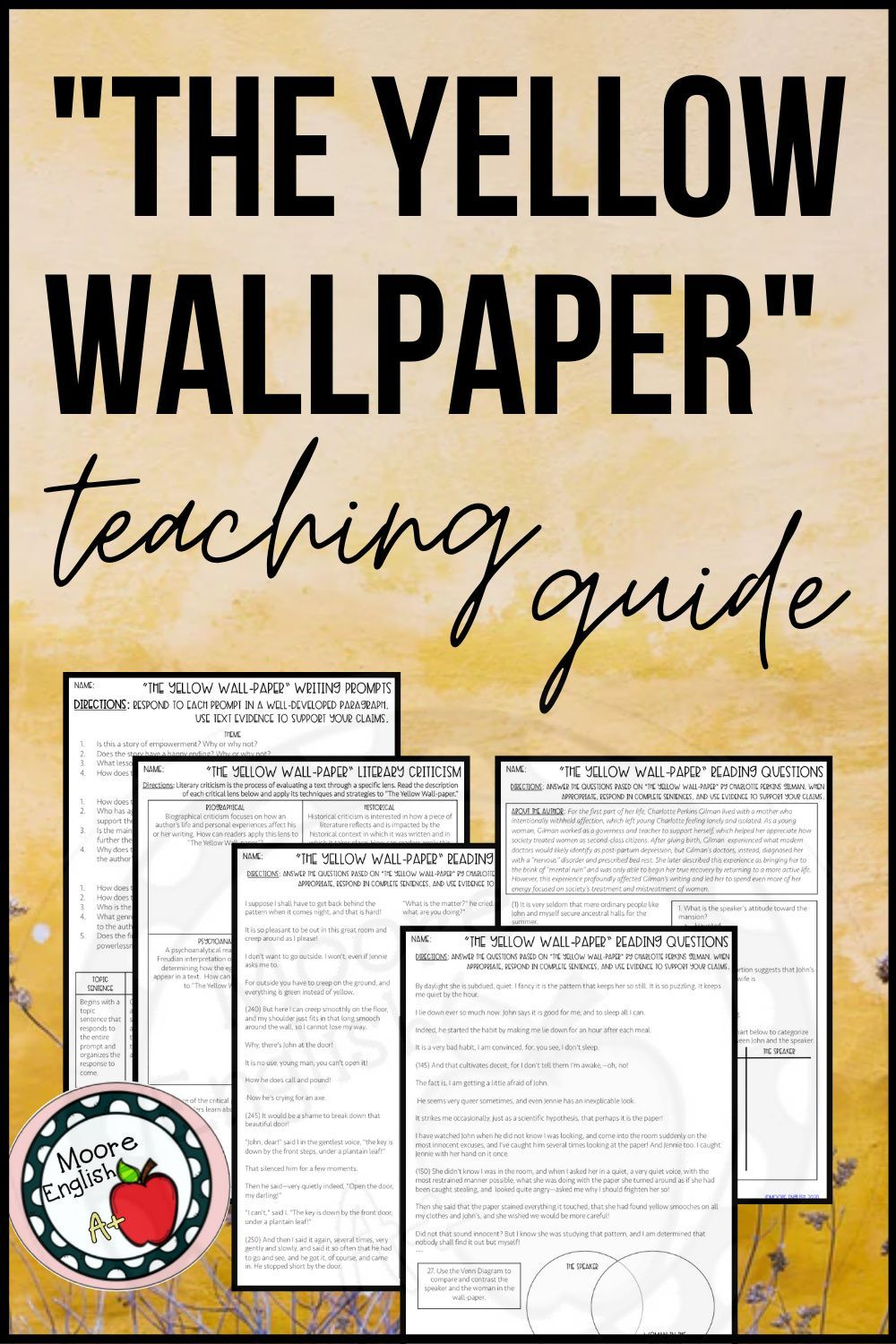The Yellow Wallpaper Reading Questions Writing Prompts And Lit Crit Activity Writing Prompts Mentor Texts This Or That Questions