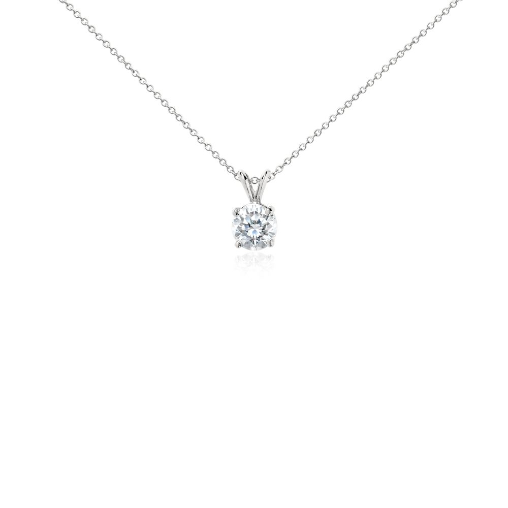 Diamond Solitaire Pendant In Platinum 2 Ct Tw Blue Nile In 2021 One Carat Diamond Solitaire Pendant Diamond Pendant White Gold