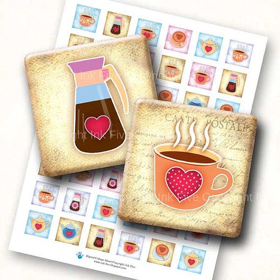 Coffee Time 1 Inch Squares Printable Images 1x1 Inch