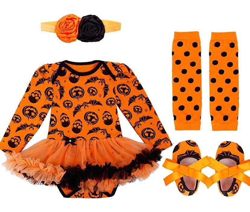 Halloween Costume Infant Baby Girls Pumpkin Romper Tops+Headband Outfits Set