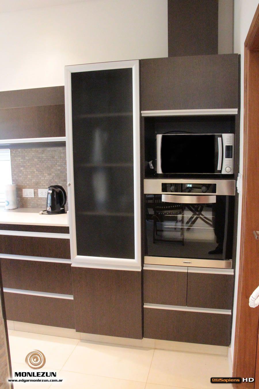 Amoblamiento Cocina Melamina Wengue M Rmol Silestone Blanco Norte  # Lejaim Muebles De Cocina