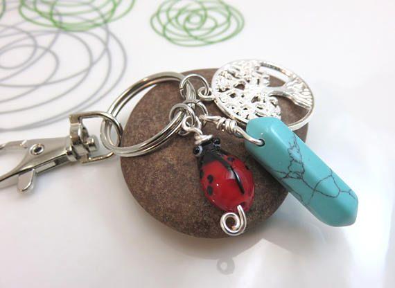 Turquoise Keychain Blue Howlite Keychain Ladybug