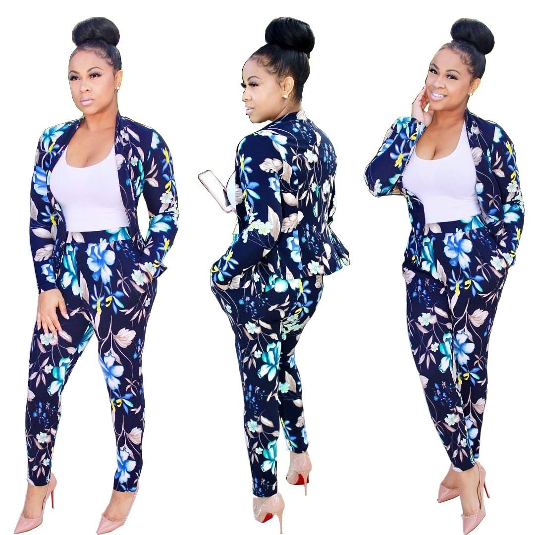 Autumn 2 Piece Set Linen Pant Suits For Women Plus Size ...