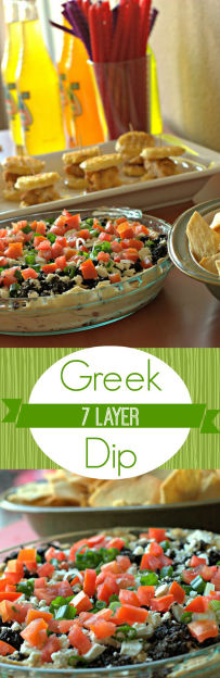 7 Layer Greek Dip - a quick & easy game day appetizer recipe or dinner meal idea! Serve with chicken! #recipe #gameday #quickandeasy