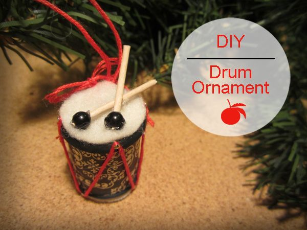 Drum Ornament DIY (12 days of Recycled Christmas Ornaments ~ made from an  empty thread spool and a toothpick) - 12 Days Of Recycled Christmas Ornaments (DIY) #12 ~ Drum Holidays