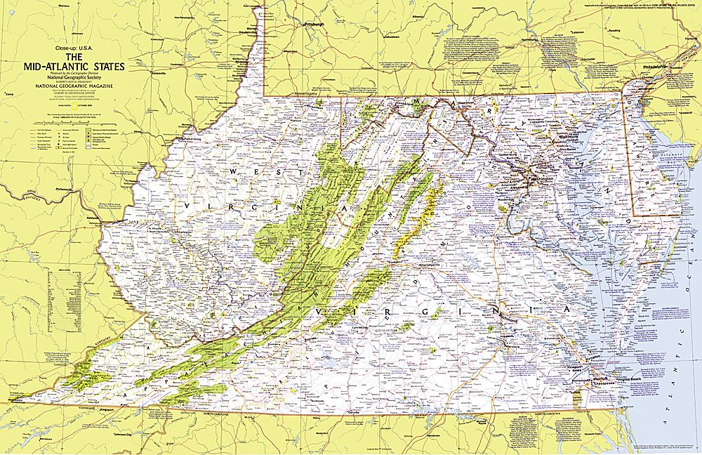 Close Up Usa Mid Atlantic States Map To Buy Wall Maps State - Us-map-close-up