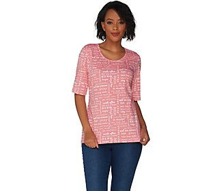 discover latest trends release date: how to choose Denim & Co. Perfect Jersey Word Print Elbow Sleeve Scoop ...