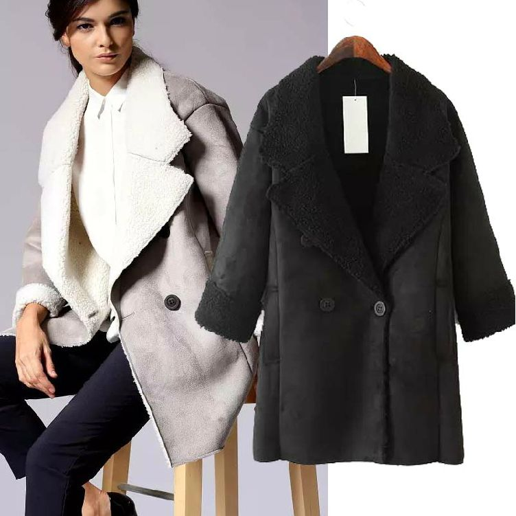 Black  Blue smoke gray khaki pink thick warm cocoon coat women long section  straight-sleeved winter 2014 new women  4850 927aaf136d