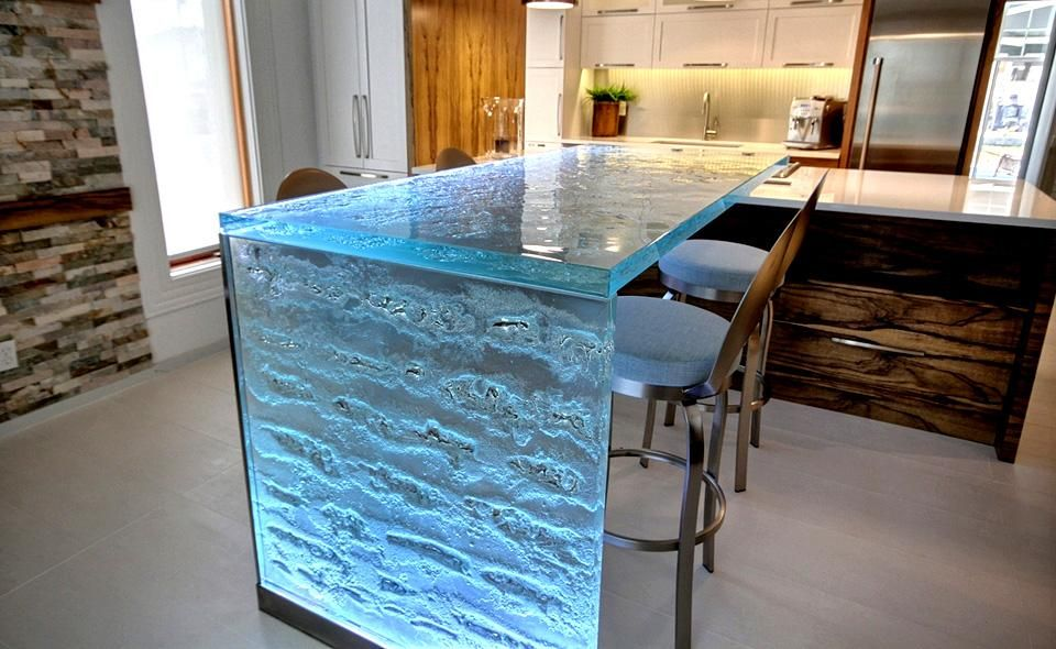 Inner Glow ThinkGlass Versatile Countertop Design : Amazing Ice Texture  Crystal Glass Countertop With LED Lights For A Beautifulu2026