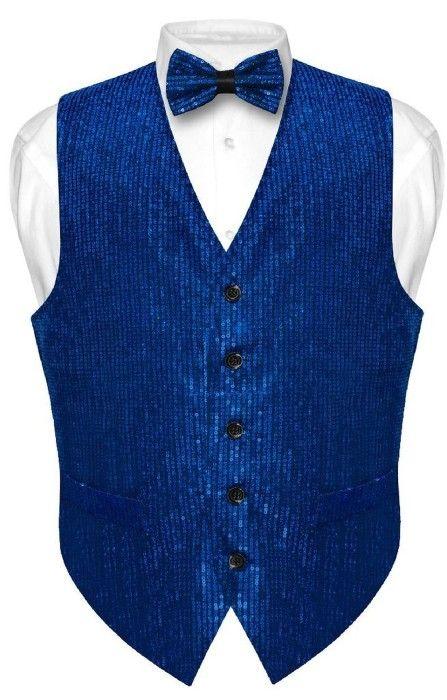 d1ac9b5a4648 Men's Sequin Design Tuxedo Vest Bow Tie Royal Blue Set #elegance4him  #mensaccessories #mensvest #eleganceforhim #royalblue #sequin #bowtie