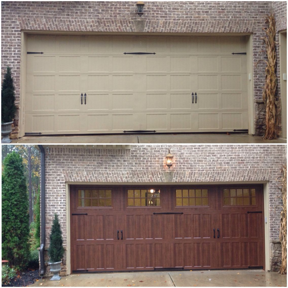 Before And After We Installed An Amarr Classica 18x8 Steel Door With Walnut Color And A Liftmaster 8550w 26 Garage Doors Garage Door Styles Garage Door Design