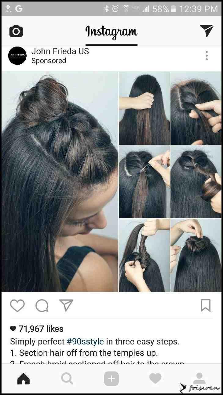 Halber Zopf (Top Bun Short) | Haarideen im Jahr 2018 ... | Frauen Haarfar ... - New Ideas #braidedbuns