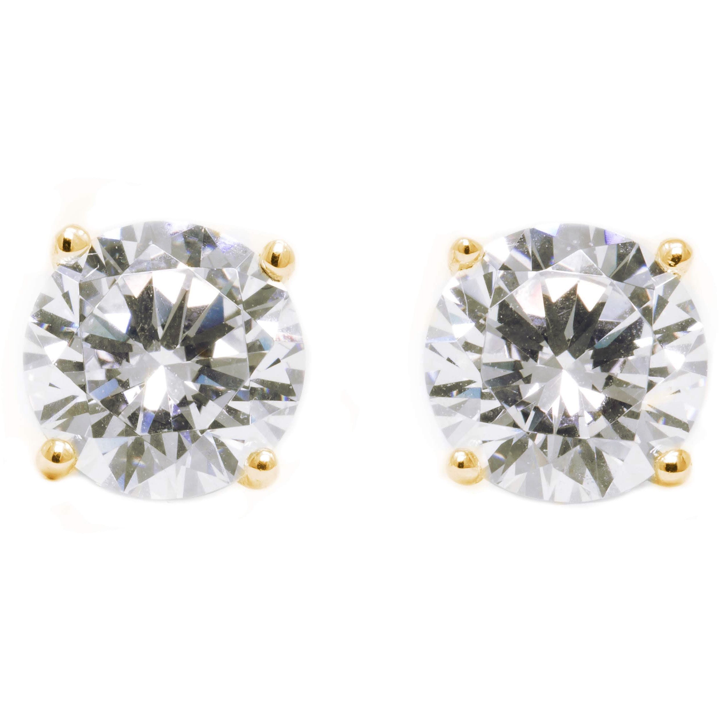 5113cc85c 3 Ct Round Cut Stud Diamond Earrings in Solid 14k 18k Yellow Gold Screw  Back Studs