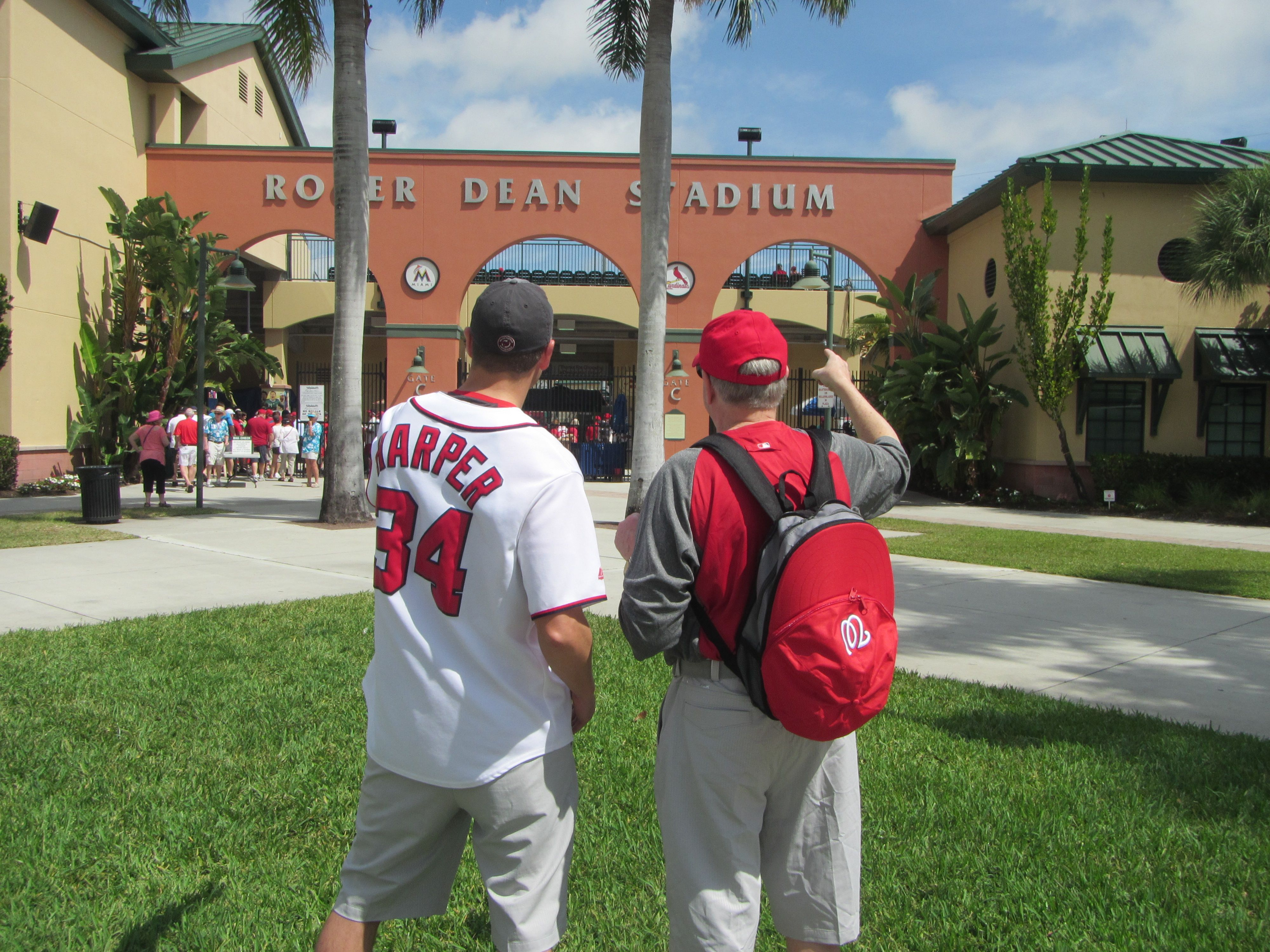 Sean Rox and Dad at Roger Dean Stadium in Jupiter, FL to see Nats Spring Training baseball