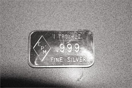 1 Troy Oz Silver Bar 999 Fine Silver Epm Silver Bullion Bar Very Rare Silver Bullion Gold Bullion Silver