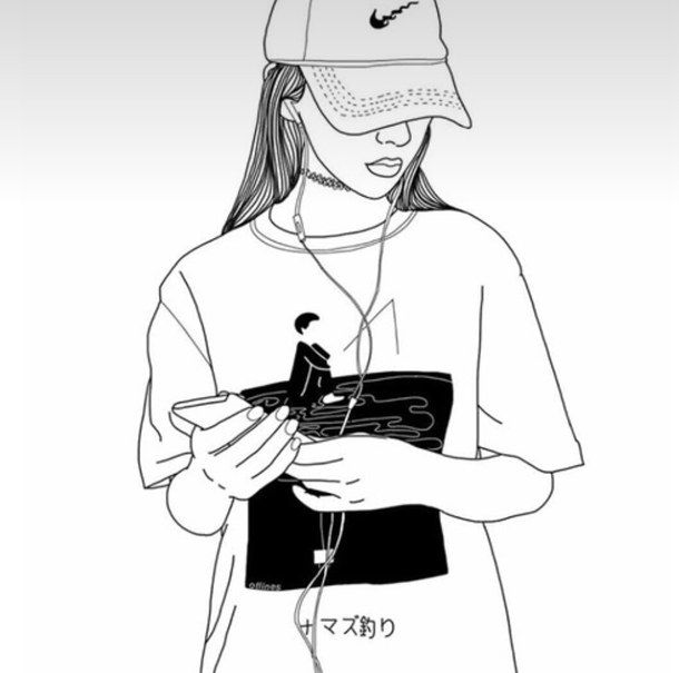 drawing, fashion, girl, nike, outline, outlines, tumblr, follow me