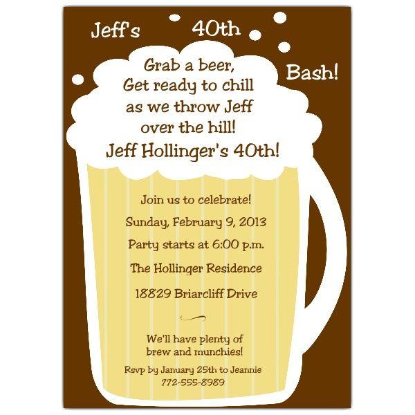 Beer Mug Birthday Invitations 40th Birthday Party Invites 40th Birthday Invitations Birthday Invitations