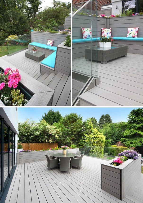 VertiGrain Grey decking (with built-in planters and a frameless ...