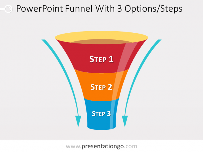 Funnel Diagram For Powerpoint With 3 Steps Powerpoint Funnel Powerpoint Slide Designs