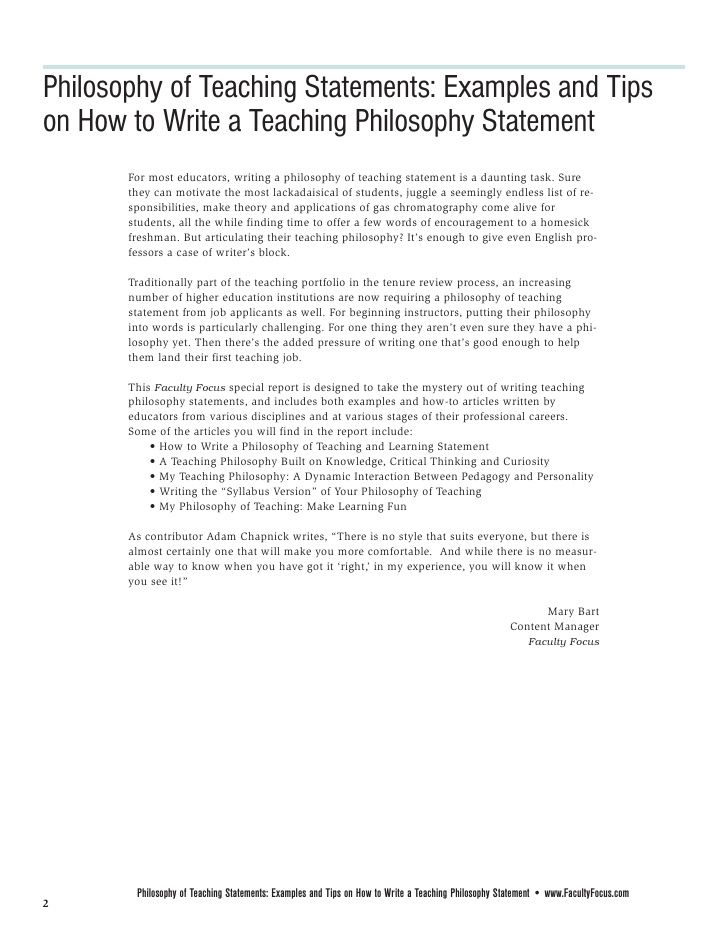 Faculty Focus Special Report Philosophy Of Teaching Statements In 2021 Philosophy Essays Teaching Philosophy Essay On Education