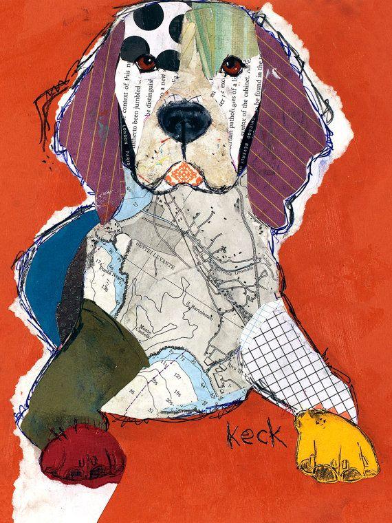 Original Dog Art Beagle Mixed Media Abstract Collage Art
