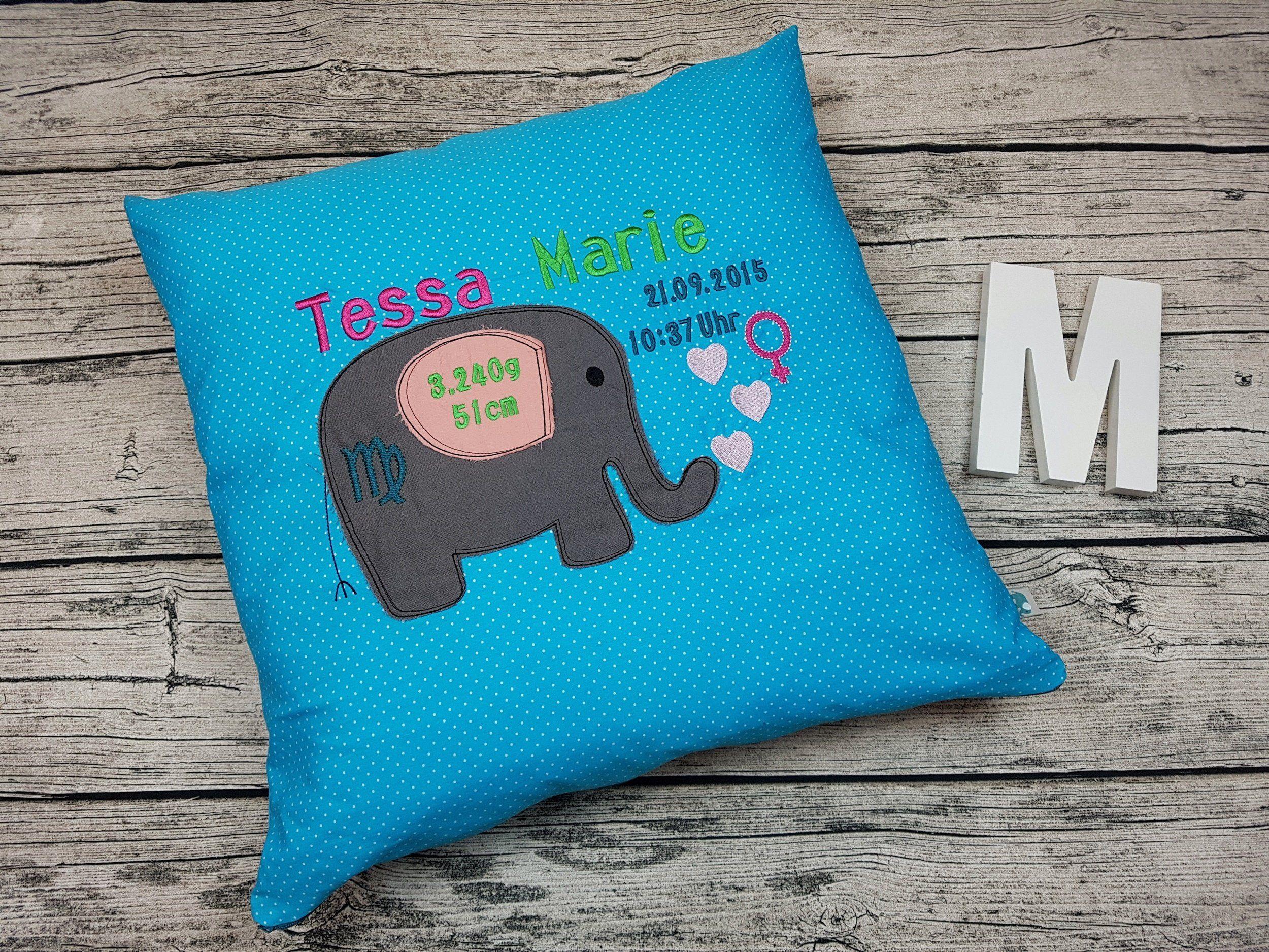 Kissen Zur Geburt Von Mummelito Geburtskissen Baby Elefant Tiere