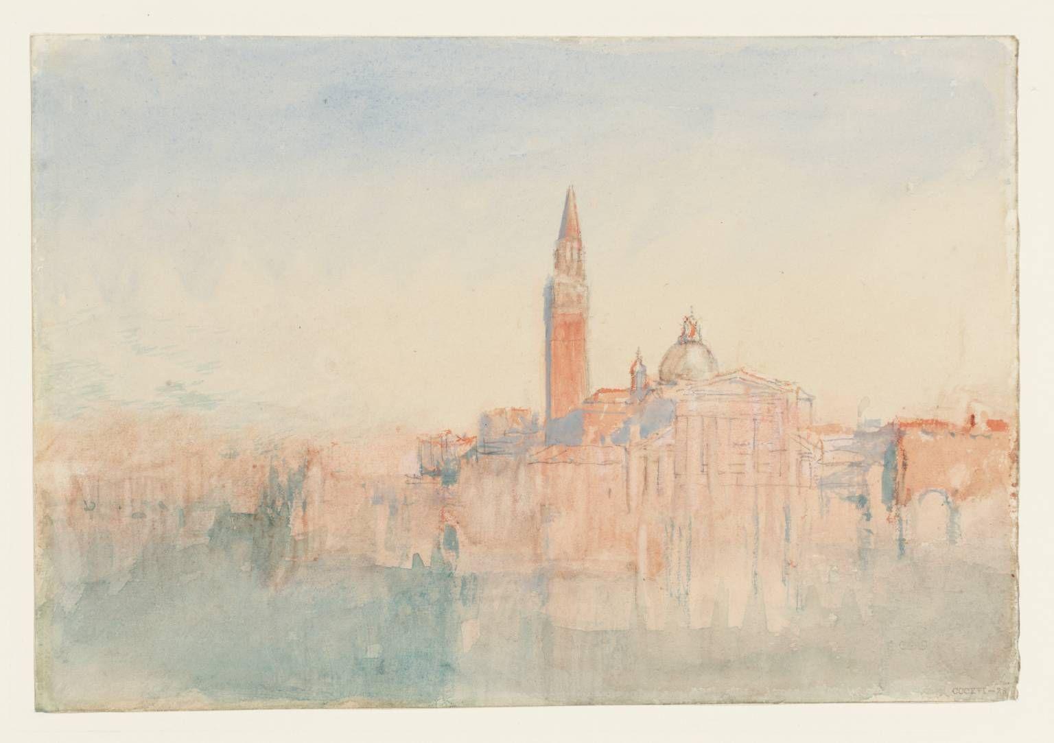 """Joseph Mallord William Turner, """"Velence: San Giorgio Maggiore Sunset, a Hotel Europa 1840"""