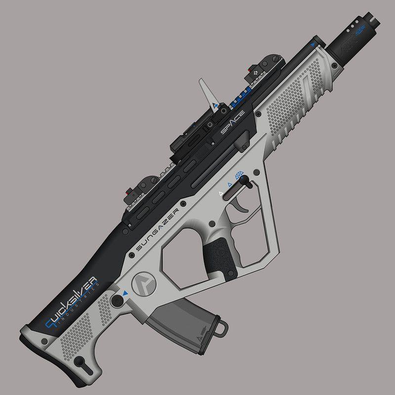 Futuristic bullpup assault rifle. | Concept art | Assault ...