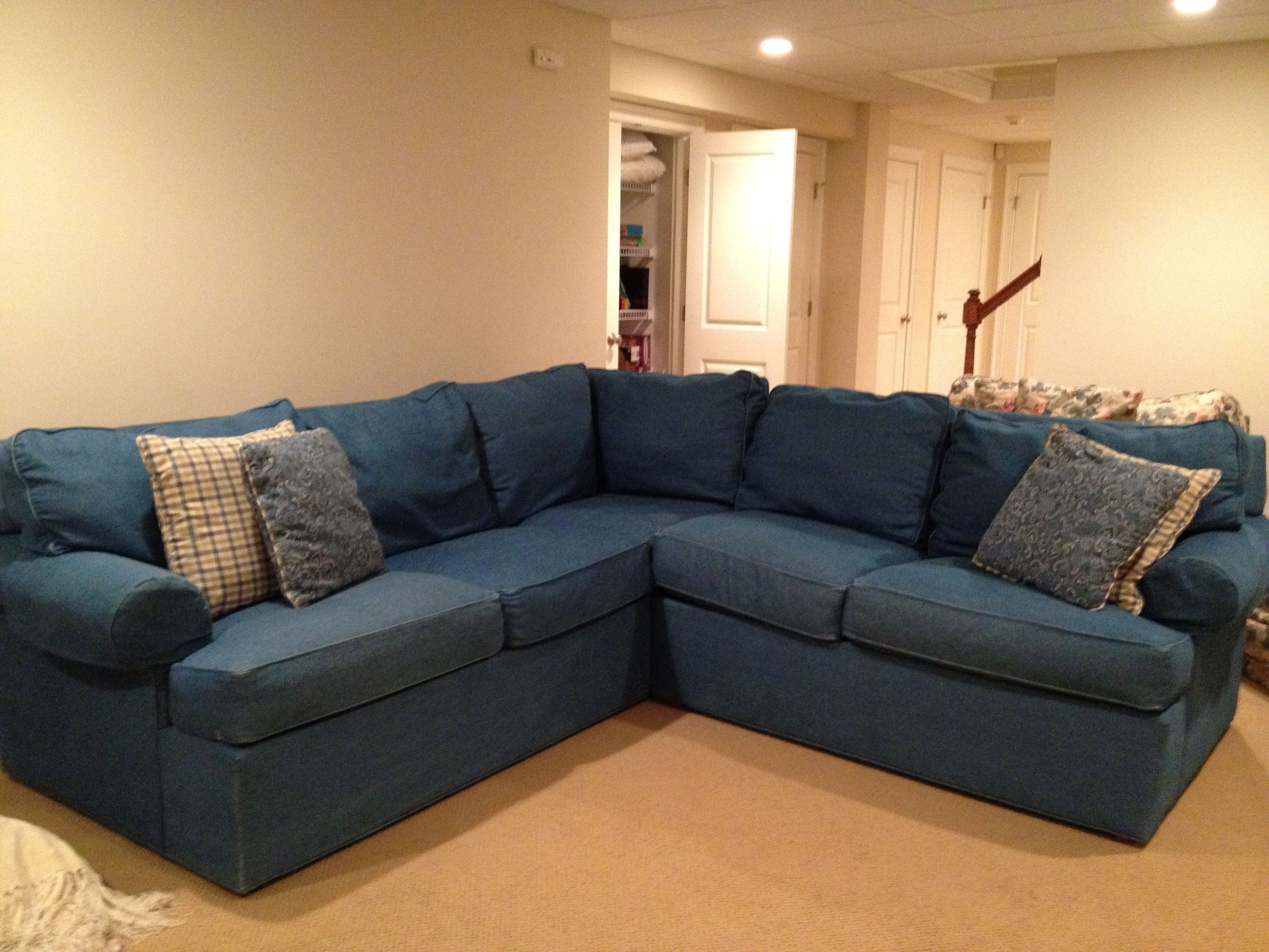 Exciting Denim Sectional Sofa Design For Living Room