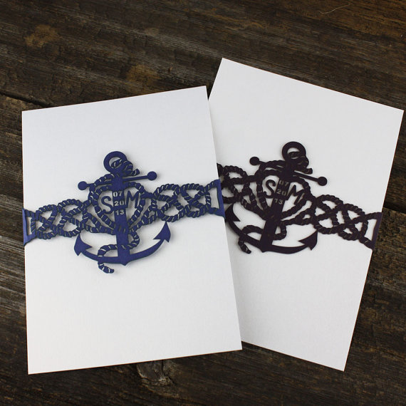 Anchors Away Lasercut Anchor Belly Band Perfect For Save The Date Bachelorette Party Invites