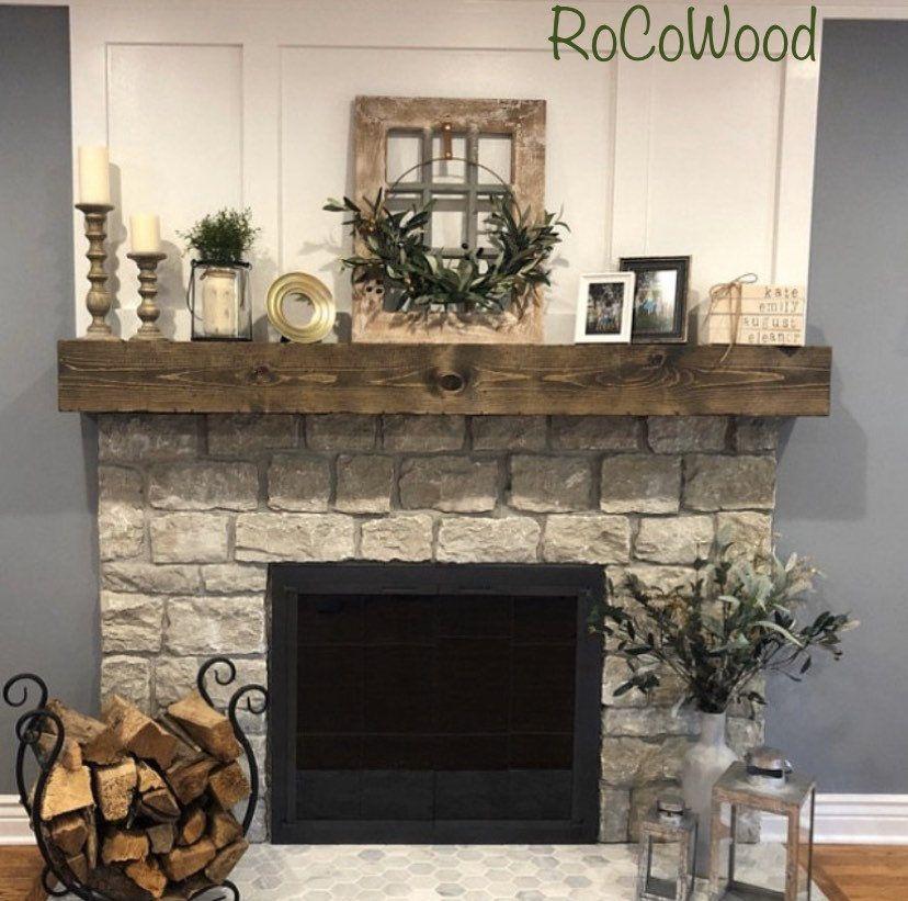 Rustic Wood Fireplace Mantel Shelf Distressed Farmhouse Handmade Floating Fireplace Beam Custom Grain FREE SHIPPING!!