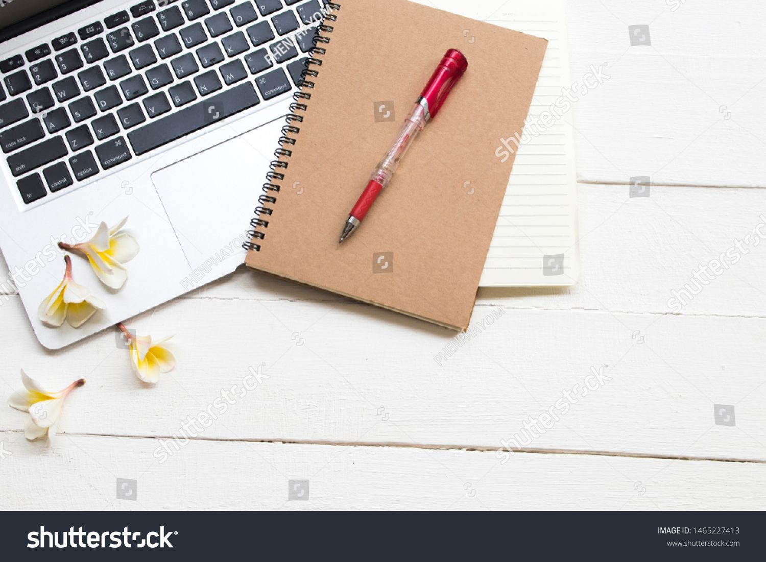 computer and notebook planner for business work arrangement flat lay style on background white wooden #Sponsored , #affiliate, #business#work#arrangement#computer