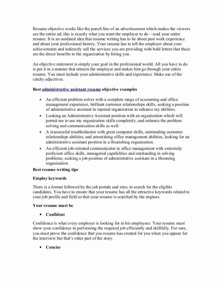 administrative assistant resume objective samples luxury