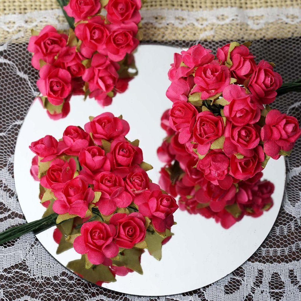 144 Fushia Paper Mini Flower Roses Paper Flowers Flower Crafts Paper Flowers Roses