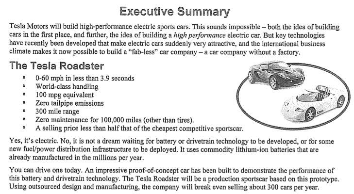Tesla business plan executive summary social media stuff Pinterest - exec summary example