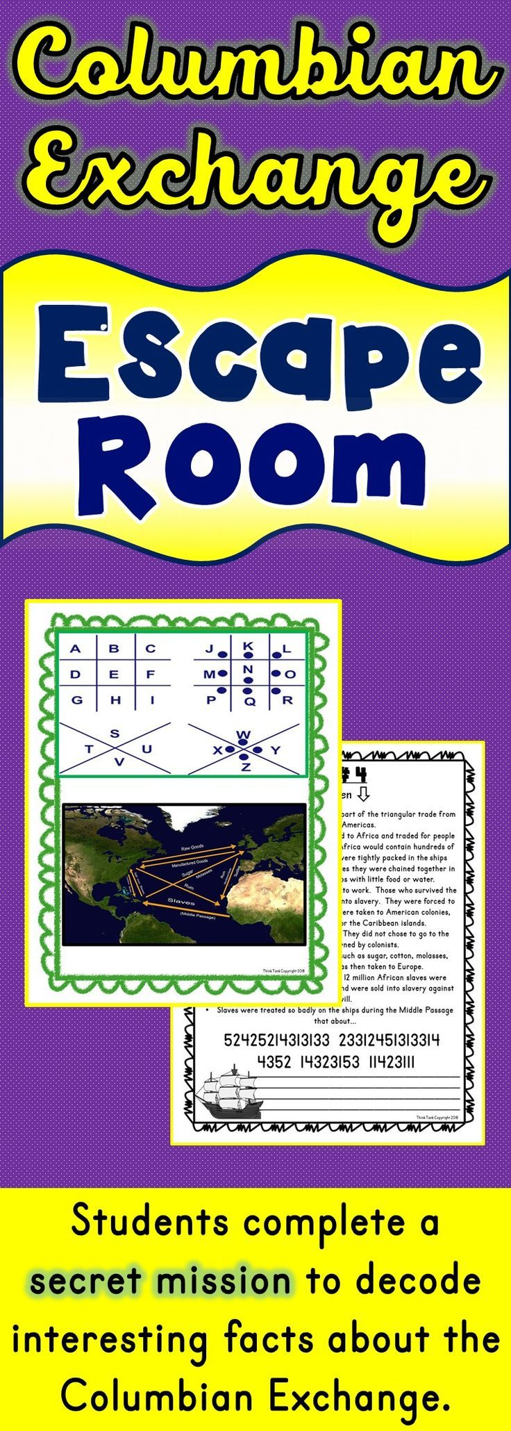 The Columbian Exchange Escape Room Will Take Students On A Secret Mission Around The Classroom T Columbian Exchange Columbian Exchange Activities Escape Room